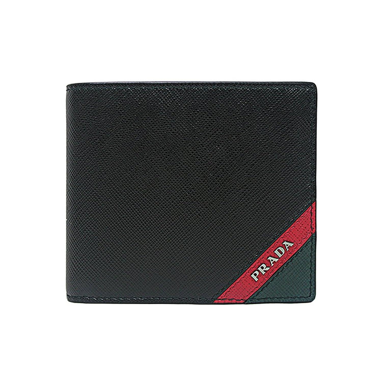[プラダ PRADA] メンズ サフィアーノ ツートン レザー 二つ折り財布 BLACK系 [並行輸入品] B07F2JB7VK