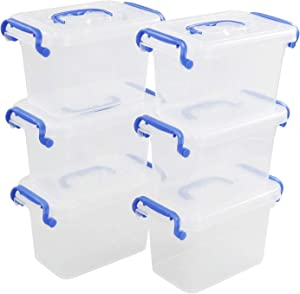 Eagrye 1.5 L Plastic Storage Box, Clear Storage Container with Blue Handle/Latches, 6-Pack