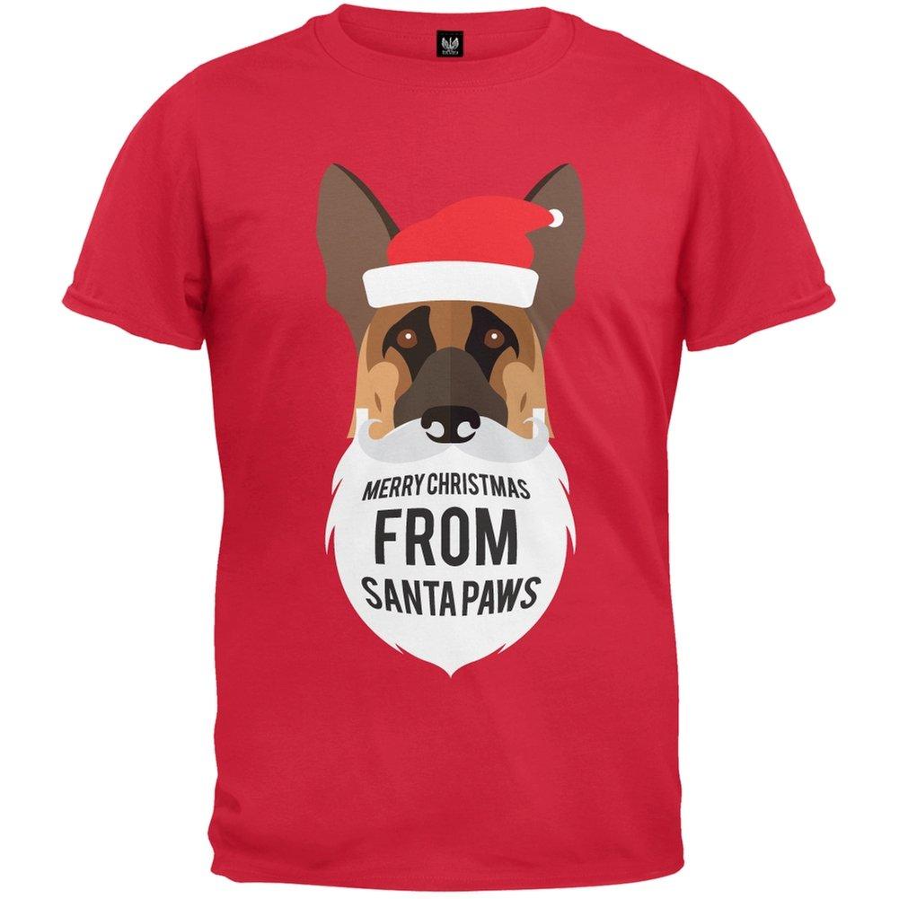 German Shepard Santa Ugly Christmas Sweater Red T-Shirt