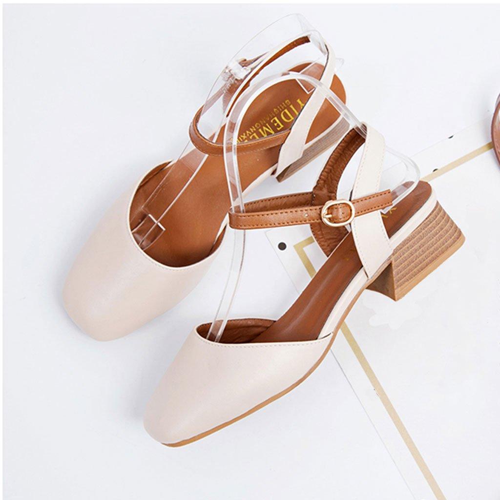 Single Shoes Baotou Baotou Shoes Single Shoes Female Summer Students Retro Square Head Mary Jane Sandalo con Tacco Ruvido  Bianco Crema 05ca31