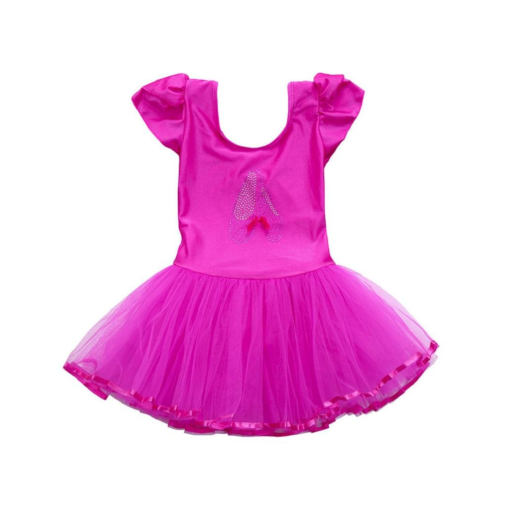 1-7 Years Old Girls,Yamally_9R Toddler Girls Gauze Leotards Ballet Bodysuit Skirt Dancewear Dress Clothes Outfits (24M, Hot Pink)