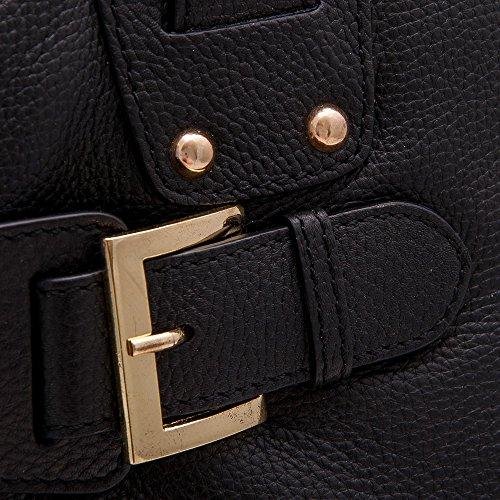 15839fb15 Bolsos Grande Humo Azul Auténtica Bolso 39x26 Negro Piel Mano 5x11 De Cm Marino  Mujer Cuero Zerimar Para Medidas Color ...
