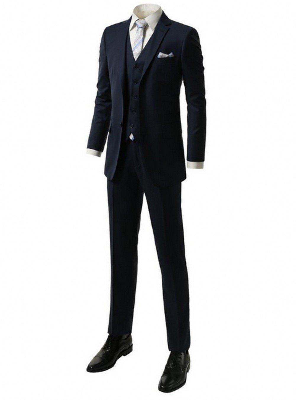 AK Beauty Men's Suit 2 Buttons Groom Tuxedos (Jacket+Pants+Vest+Tie) Navy XXXXXL