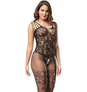 a93f23f97db8d Deksias Womens Strap Floral Crotchless Bodystocking Plus Size Bodysuit for  Women