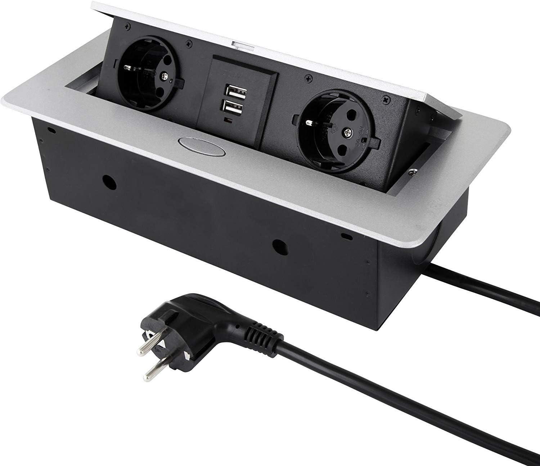 Enchufe empotrable abatible de 2 enchufes + USB – Aluminio inyectado – con apertura suave – listo para conectar con cable Schuko de 3 m.