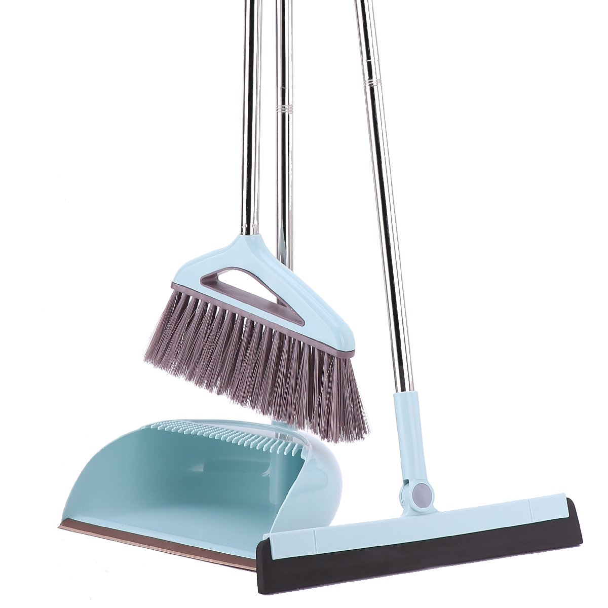 Dust Pan Broom & Floor Squeegee Scrubber Brush/Removable Adjustable Long Handle/Cleaner Set Professional for Pet Hair Sweeping Kitchen House