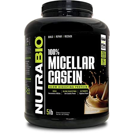 NutraBio 100 Micellar Casein – Slow Digesting Protein Powder 5 Pounds, Dutch Chocolate