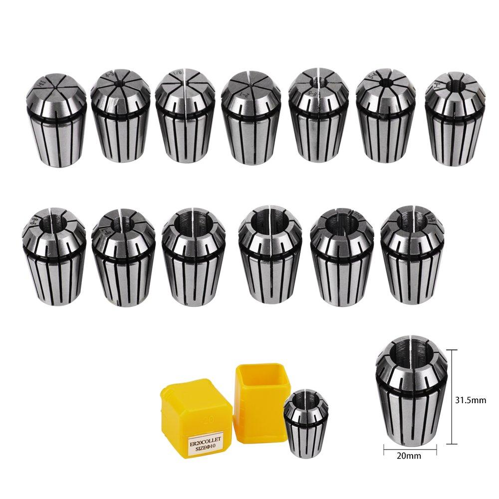 13 st/ücke 1-13mm ER20 Spannzange Set CNC Spannte Gravur /& Fr/äsen Lath