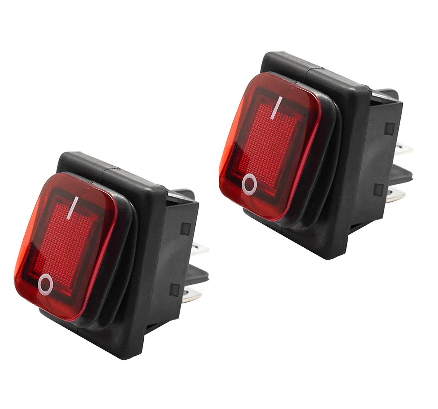 Rocker Toggle Switch On//Off 4 Terminals Red Light 16A 250VAC Waterproof Cover SPST for Car Truck Boat Motorhome NewZC Rocker Switch 2 Pack