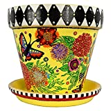 Floral Fireworks Planter Flower Pot with Saucer, Hand-Painted Terracotta, Black and White Check