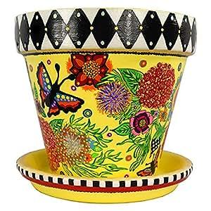 Mackenzie-Childs inspirado pintado a mano flores de 'fuegos artificiales' terracota maceta (Flower Pot) y plato, blanco y negro Check, regalo para mujer, regalo de Navidad, regalo para la abuela, regalo de cumpleaños