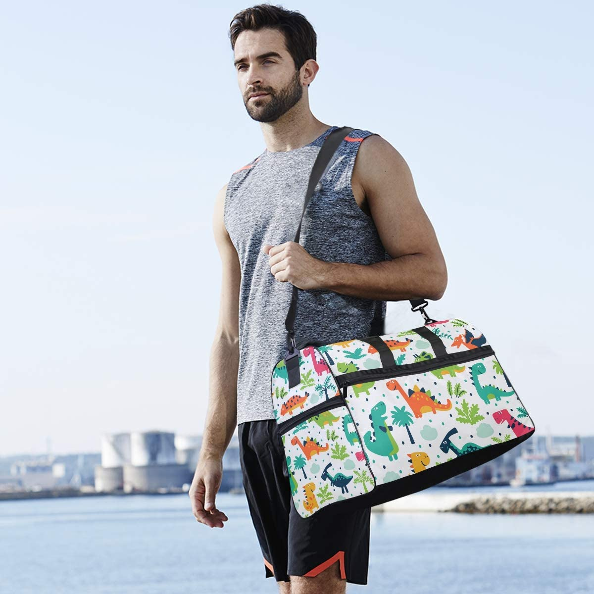 Funny Colorful Dinosaurs Sports Gym Bag with Shoes Compartment Travel Duffel Bag for Men and Women
