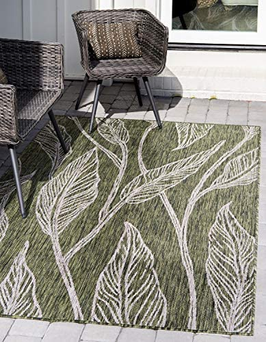 Unique Loom Outdoor Botanical Collection Casual Leafs Transitional Indoor and Outdoor Flatweave Green Area Rug 7' 0 x 10' 0