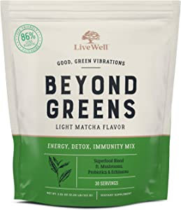 Beyond Greens Antioxidant Superfood Powder - Matcha Flavor w/ Mushrooms, Probiotics, Echinacea for Immune System Boost, Gut Health, Detox, Energy | by LiveWell - 30 Servings