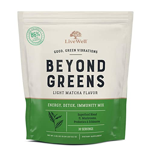 Beyond Greens Superfood Powder – Matcha Flavor w Mushrooms, Probiotics, Echinacea for Immune System Boost, Gut Health, Detox, Energy by LiveWell – 30 Servings