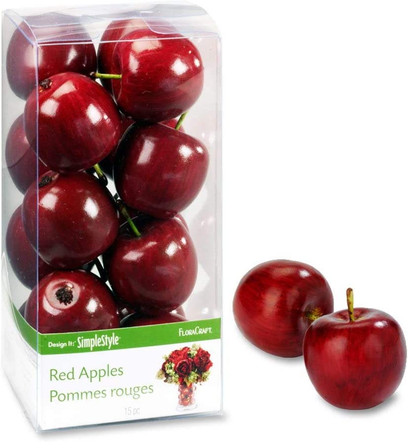 FloraCraft 15 Piece Decorative Mini Fruit Red Apple