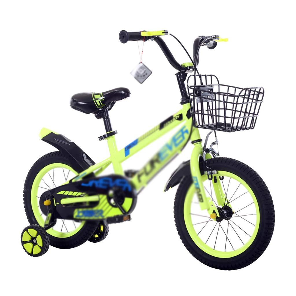 Bici per bambini Bicicletta per Bambini 12 14 16 Ragazzi e Ragazze Bicicletta Passeggino Mountain Bike (Colore   giallo, Dimensione   14inch)