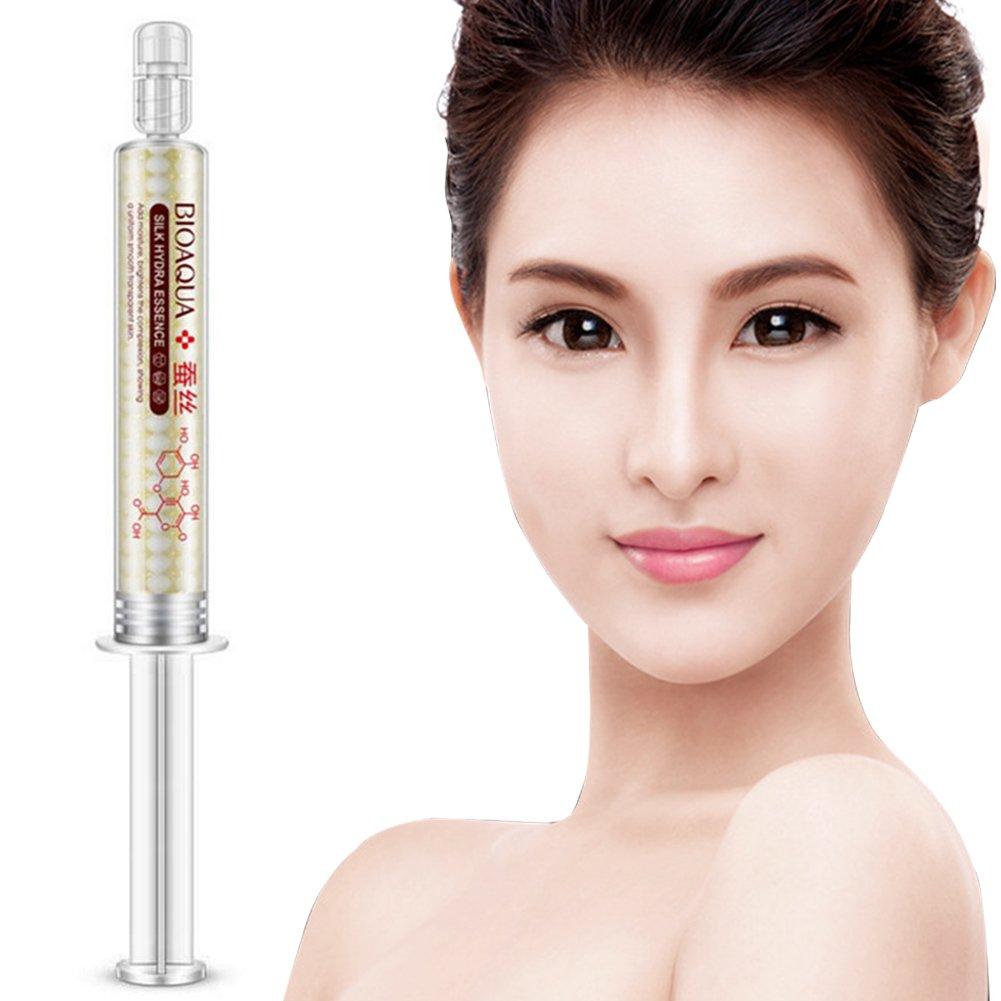 Proteínas de seda bioaqua hialurónico ácido líquido para el cuidado de la piel hidratante anti arrugas anti envejecimiento Crema de colágeno esencia 10ml (10ml)