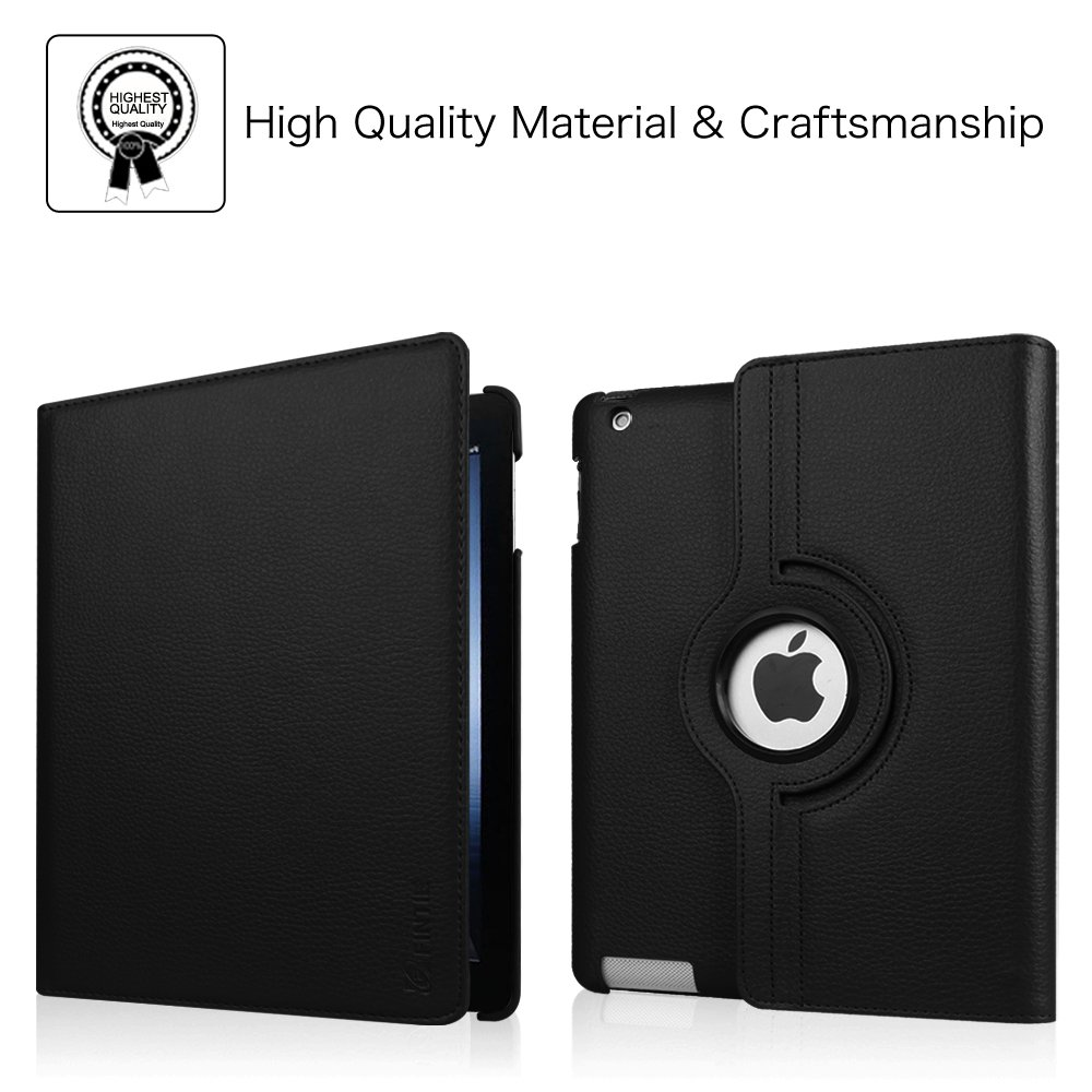 Black Fintie Apple iPad 2//3//4 Case iPad 4th Generation 360 Degree Rotating Stand Case Cover for iPad with Retina Display the new iPad 3 /& iPad 2 Automatic Wake//Sleep Feature