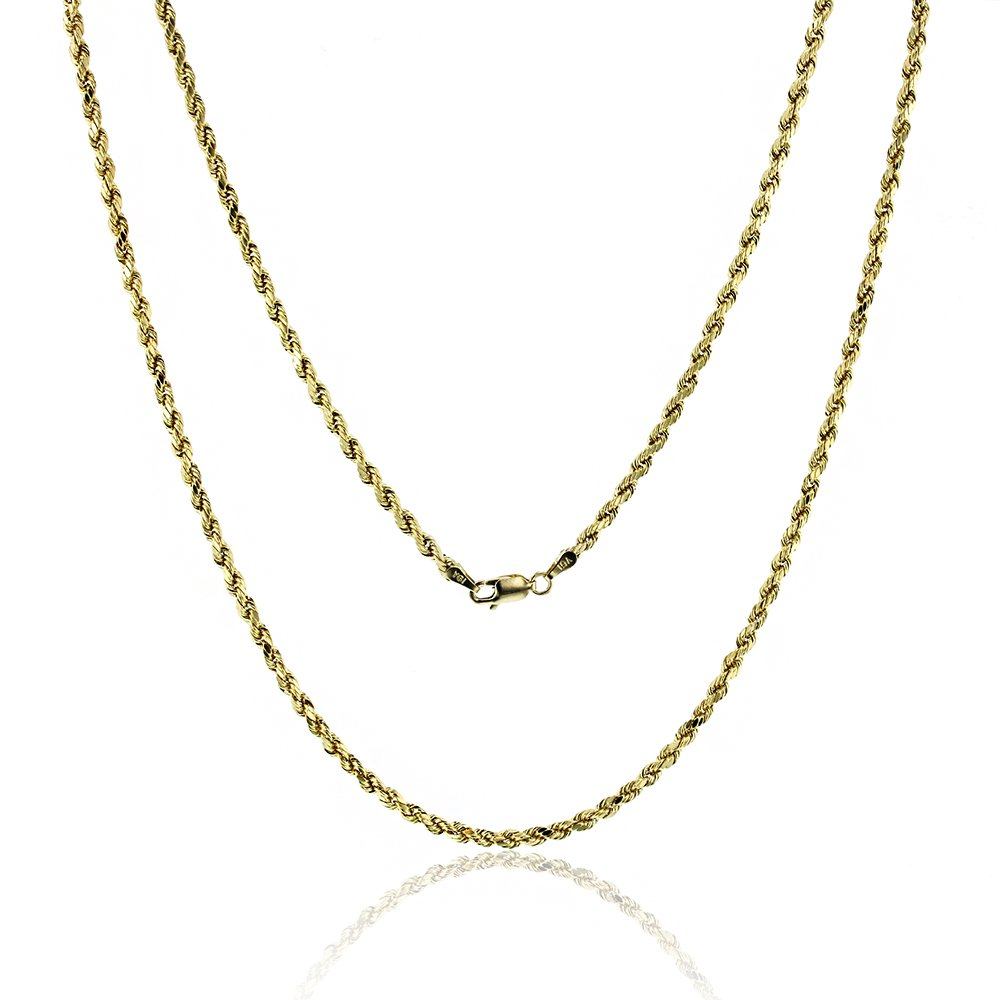 14k Yellow Gold Diamond Cut Hollow Rope 3.00MM 021 20'' Chain