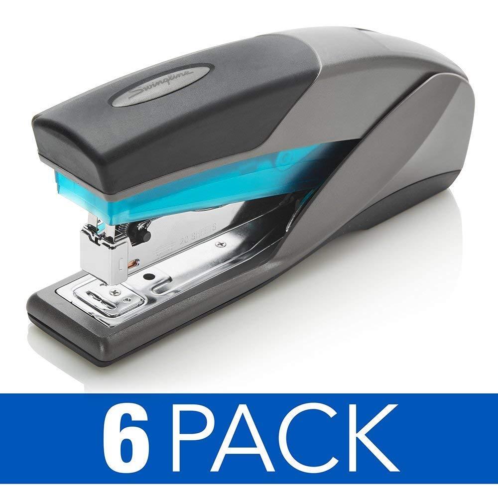 Swingline Staplers, Optima 25, 25 Sheet Capacity, Reduced Effort, Full Size, Blue/Gray, 6 Pack (S7066404CS)