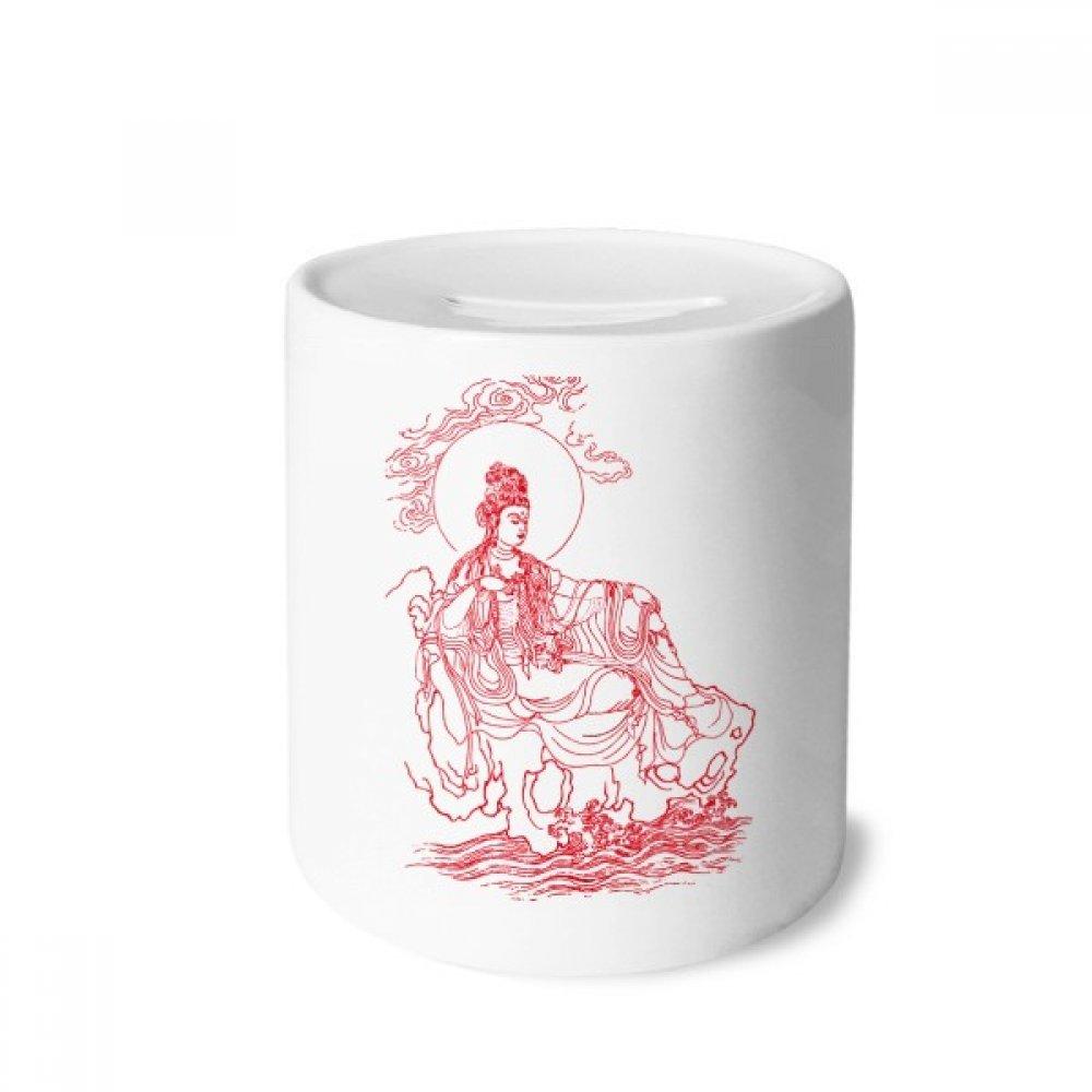 DIYthinker Budismo Red Guanyin ilustrado Modelo Caja de Dinero de Las Cajas de ahorros de cerámica Adultos Moneda de la Caja para niños