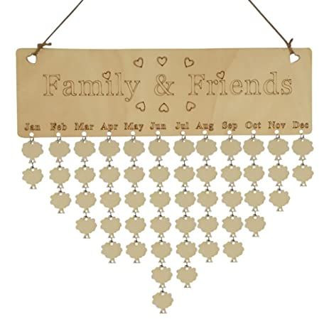Amazoncom Home Dcor Usstore 1PC Wooden Family Birthday Reminder