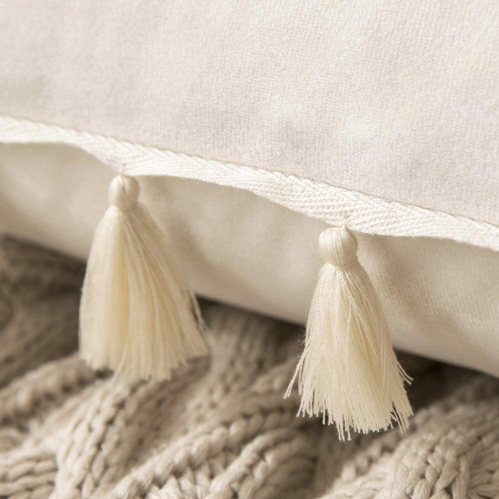 MIULEE Pack of 2 Velvet Soft Solid Decorative Throw Pillow Cover with Tassels Fringe Boho Accent Cushion Case for Couch Sofa Bed 12 x 20 Inch Black