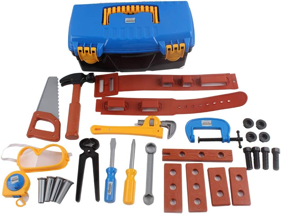 14Pcs Kids Gift  Boy Building Repair Plastic Tool Kits Set Construction Toy J HK