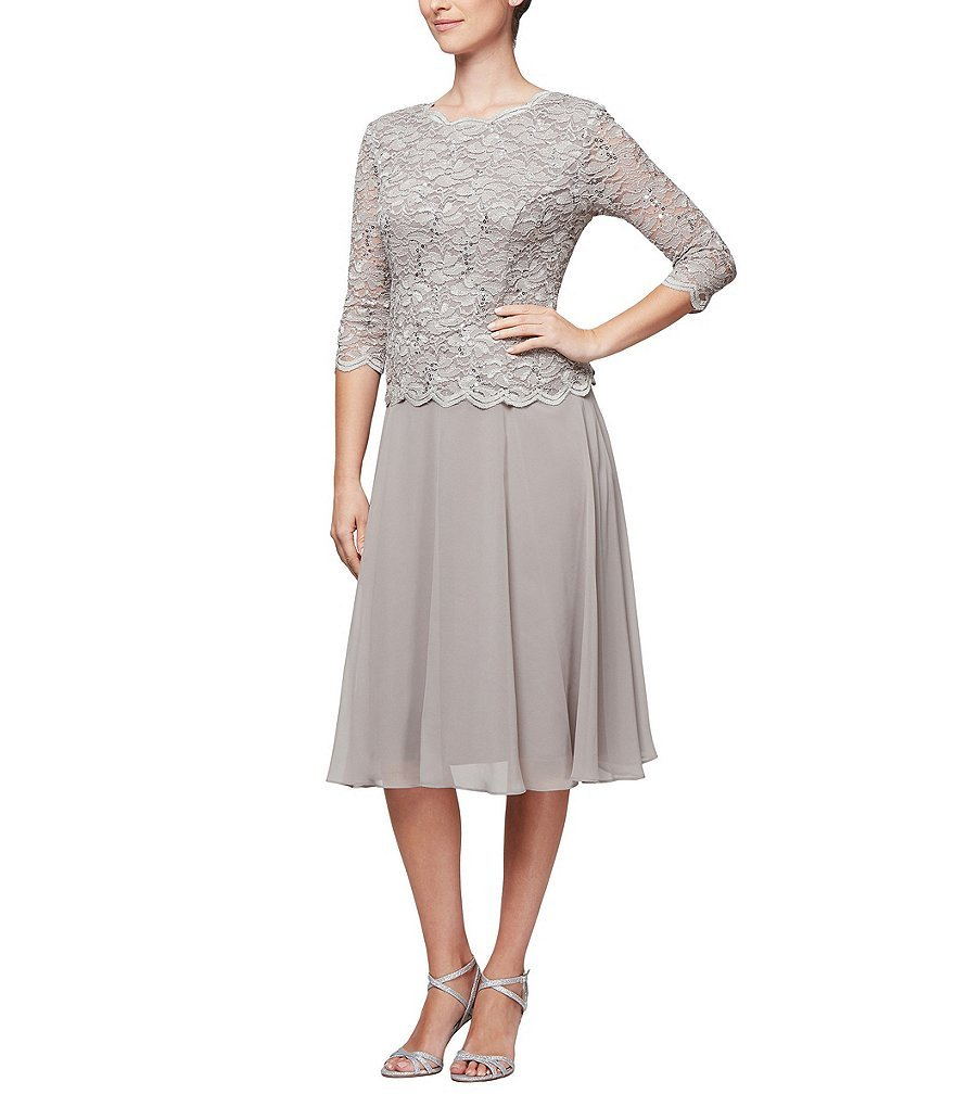 Alex Evenings Women's Sequin Lace Mock Dress (Petite and Regular), Mink 6P