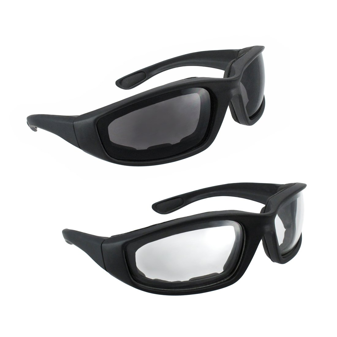 f7169300a8f Motorcycle Riding Glasses - 2 Pair Smoke Clear Biker Foam Pad  Amazon.in   Car   Motorbike