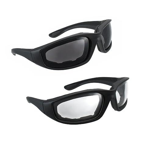 26df80d306fb Motorcycle Riding Glasses - 2 Pair Smoke Clear Biker Foam Pad  Amazon.in   Car   Motorbike