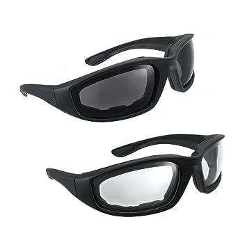 3dc3e497e4 Motorcycle Riding Glasses - 2 Pair Smoke Clear Biker Foam Pad  Amazon.in   Car   Motorbike