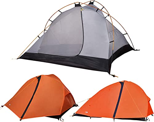 MIER 1-2 Person Backpacking Tent Free-Standing Camping Tent with Footprint, Waterproof and Easy Setup 3 Season, Orange