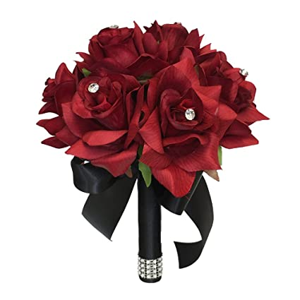 Angel Isabella Build Your Wedding Package Artificial Flower Bouquet Corsage Boutonniere Rose Calla Lily Red White Black Wedding Theme Bridesmaid B