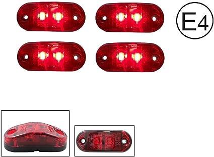 A1 4x Led 12v Rot Begrenzungsleuchte Umrissleuchte Positionsleuchte Seitenmarkierungsleuchte Lkw E Prüf E9 Auto