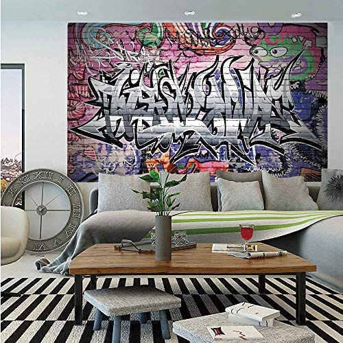 SoSung Rustic Home Decor Wall Mural,Graffiti Grunge Art Wall Several Creepy Underground City Urban Landscape Print,Self-Adhesive Large Wallpaper for Home Decor 55x78 inches,Multi