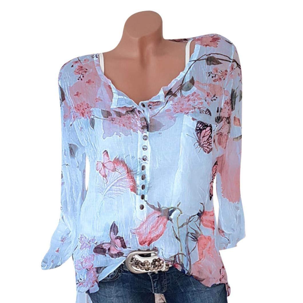 UONQD Women Floral Printed Button T-Shirt Chiffon Irregular Hem Top