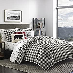 Eddie Bauer Mountain Plaid Duvet Cover Set, King, Black