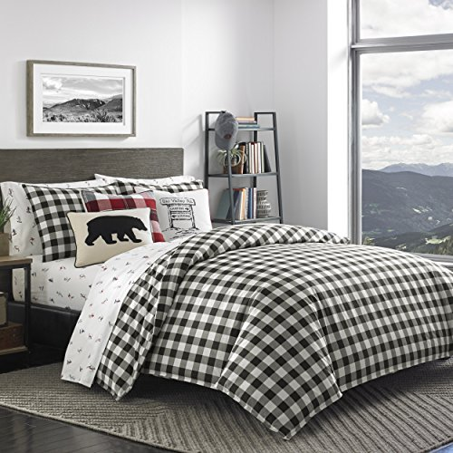 Eddie Bauer Mountain Plaid Duvet Cover Set, King, Black ()