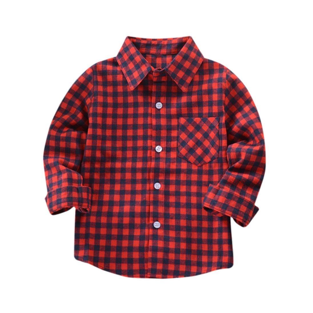 Huhu833 Kinder Jungen Mädchen Langarm Baumwolle Shirt Karos Tops Bluse Kleidung Outfits