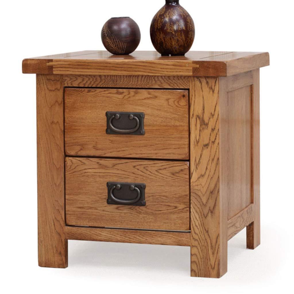 Nachttische Zwei Pumpen Massivholz Schließfach Schlafzimmer Beistelltisch Schreibtisch Wohnzimmer Teetisch Belastbarkeit 250kg Schlafzimmer (Color : Brown, Size : 50 * 41 * 47CM)