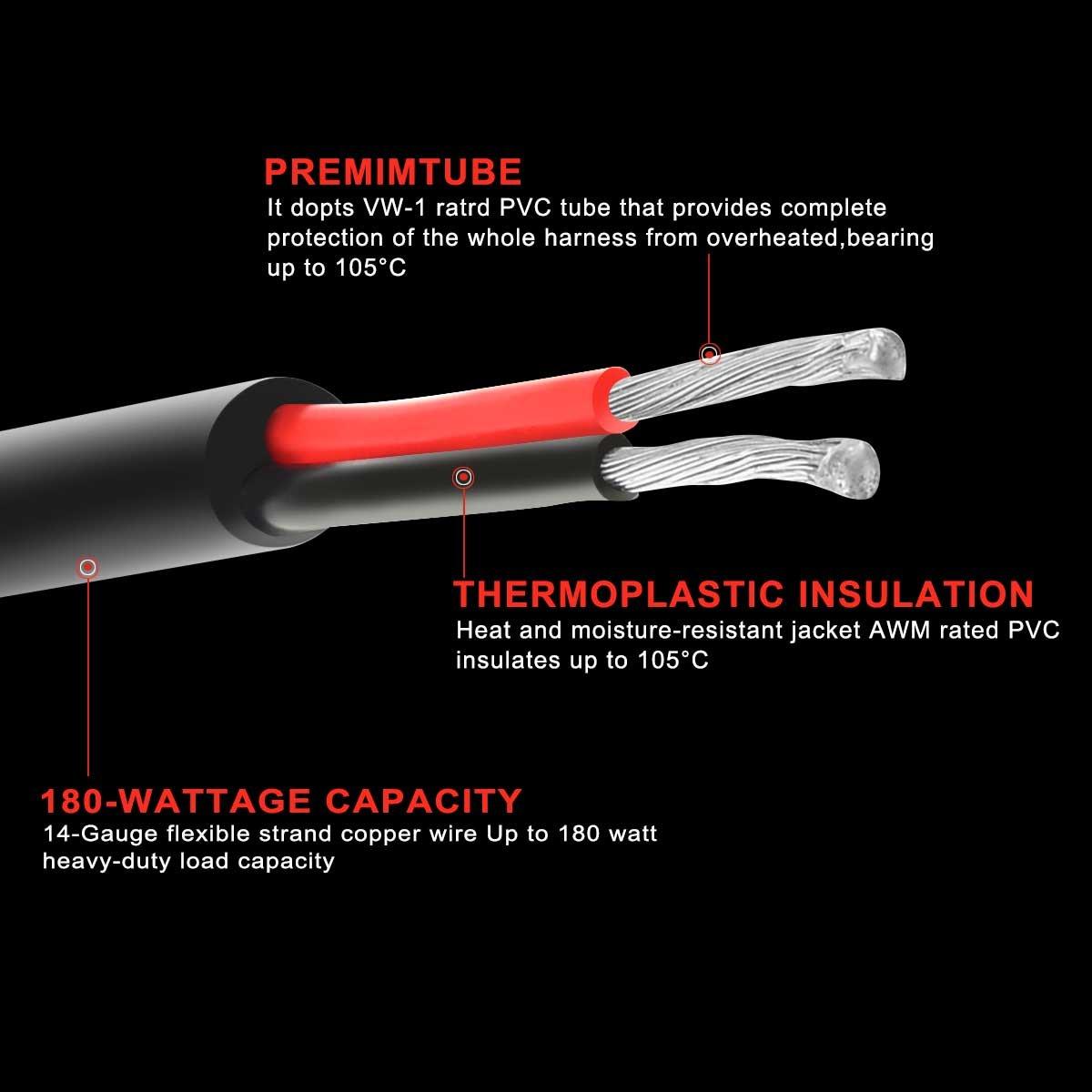 Kawell Universal 2 Lead Off Road Atv Led Light Bar Wiring Harness Kit For 40 Amp