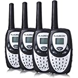 FLOUREON 4 Set Walkie Talkies Two Way Radios Long Range 3000M (MAX 5000M open field) UHF Handheld Walkie Talky for Outdoor Camping(Silver)