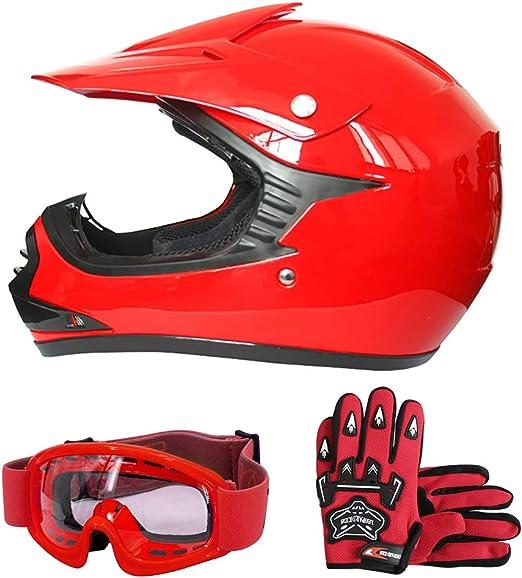 Leopard Leo X15 Rot Kinder Motorrad Helm S 49 50cm Handschuhe S 5cm Zorax Brille Kinder Motorradhelm Full Face Mx Helmet Mädchen Jungen Dirt Bike Auto
