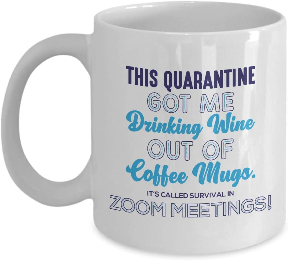 Quarantine Zoom Survival Wine Mug, Funny Zoom Meeting, Work from home, WFH, Office, coworker, female