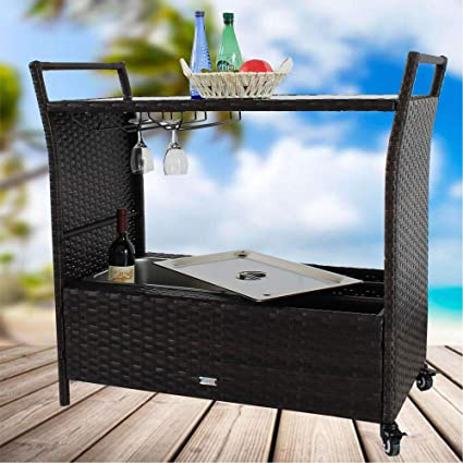Amazing LEAPTIME Patio Bar Cart Outdoor Indoor PE Rattan Serving Carts Wheels  Caster PE Wicker Bar Cart