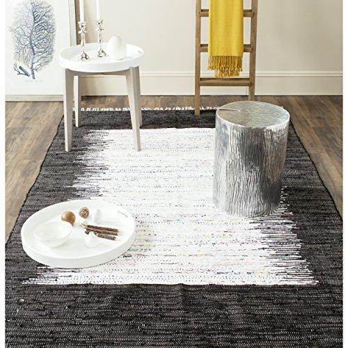 Safavieh Montauk Collection MTK711H Handmade Flatweave Ivory and Black Cotton Area Rug (8' x 10')