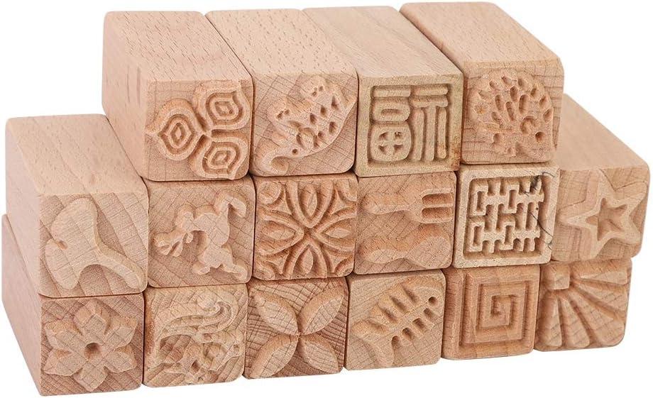 Taglierina per timbri a stella 16 pezzi timbri intagliati a mano faggio fai-da-te argilla blocchi di stampa ceramiche accessori artigianali strumento