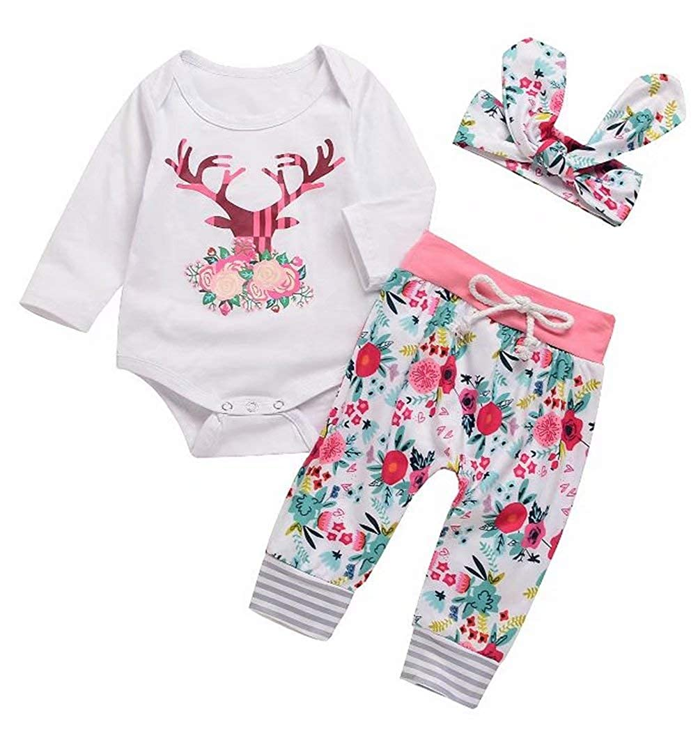 SUPEYA Baby Girls Reindeer Print Romper+Floral Pants Headband 3Pcs Set Outfits